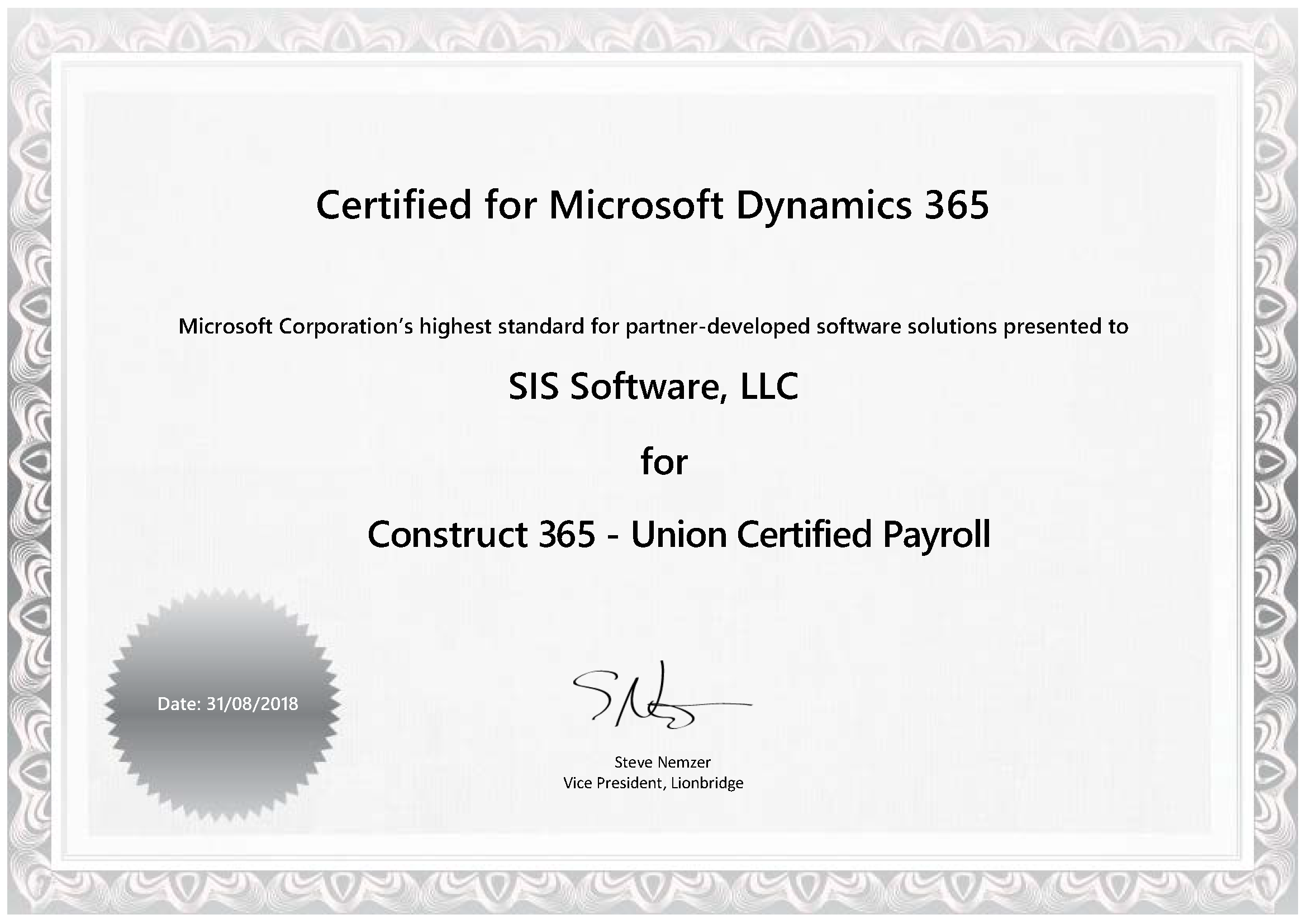 Sis Earns Certified For Microsoft Dynamics Accreditation For